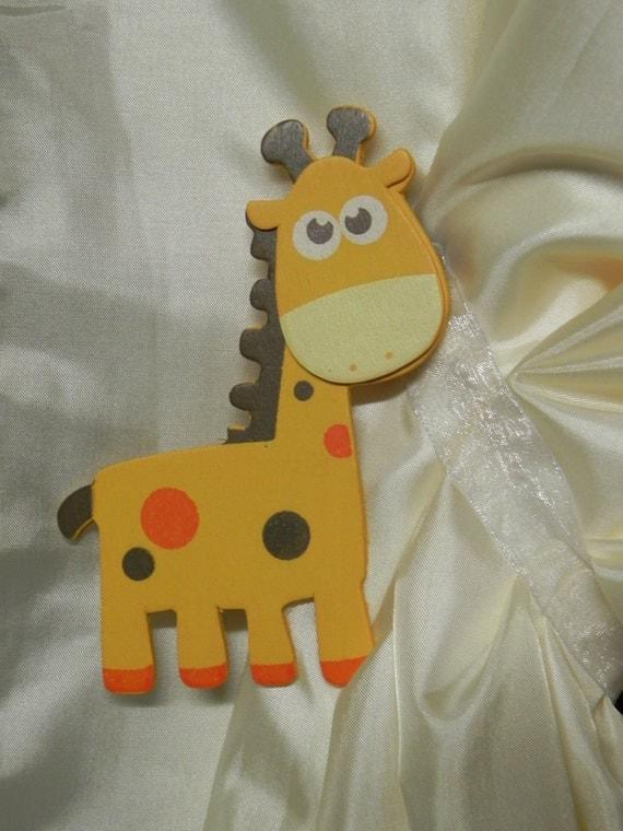 Baby Giraffes-Safari-Jungle-Zoo-Curtain Tiebacks-SwagMags(TM) Magnetic Curtain Tiebacks-ONE PAIR