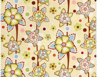 In the beinning-Frolic by Wendy Slotboom, Large flowers and dots (yellow) 1 yard