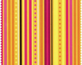 Blue Hill Fabrics' Modern Blossom Stripes (Pink, Yellow, Dk Brown) 1 yard