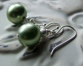 Pearl Earrings - Sage Green - Sterling Silver - Wedding - Bridal - Lime Sorbet