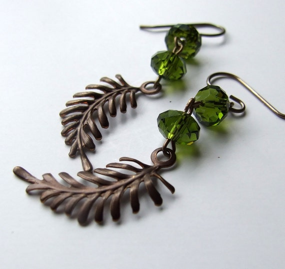 Fern Green Woodland Earrings Forest Green Czech Glass Vintaj Natural Brass - Olympia