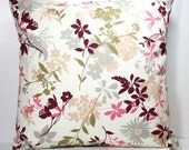 16 inch OR 18 inch Decorative Throw Pillow Cover - Burgundy, Gray, Dark Green, Pink and Tan Flowers and Leaves on Ivory - Zipper Closure