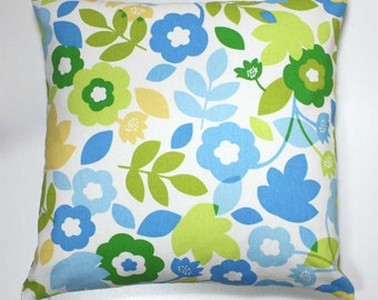 16 x 16 Inch OR 18 x 18 inch Decorative Throw Pillow Cover - Blue, Green, and Yellow Leaves and Flowers on White - Invisible Zipper Closure