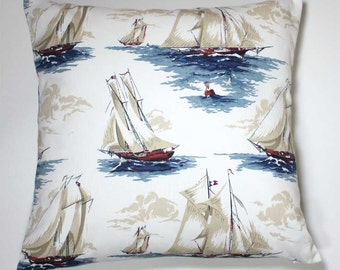 16 x 16 Inch Decorative Throw Pillow Cover- Sailboats on White - Invisible Zipper Closure - Last One