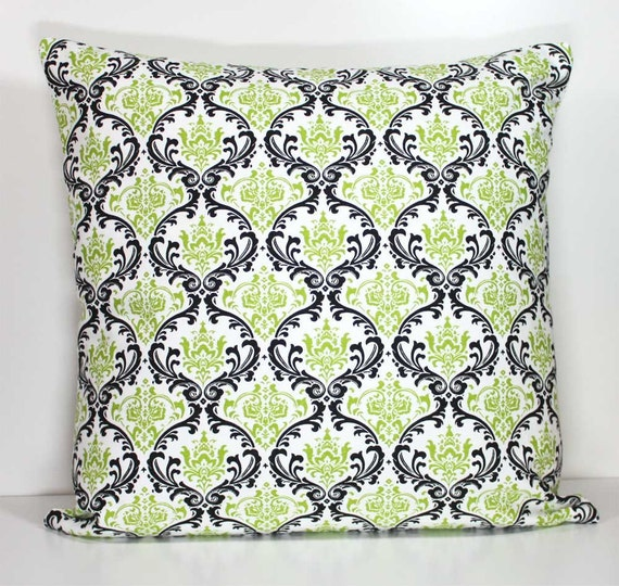 Decorative Throw Pillow Cover 18 x 18 Inch -  Black and Green Madison Damask on White - Invisible Zipper Closure - Fabric on Both Sides