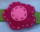 RUBY felt hair clip in Hot Pink and Light Pink