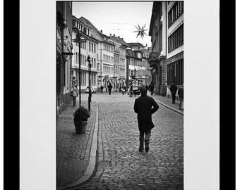 Man Walking in Downtown Heidelberg Germany 8x12