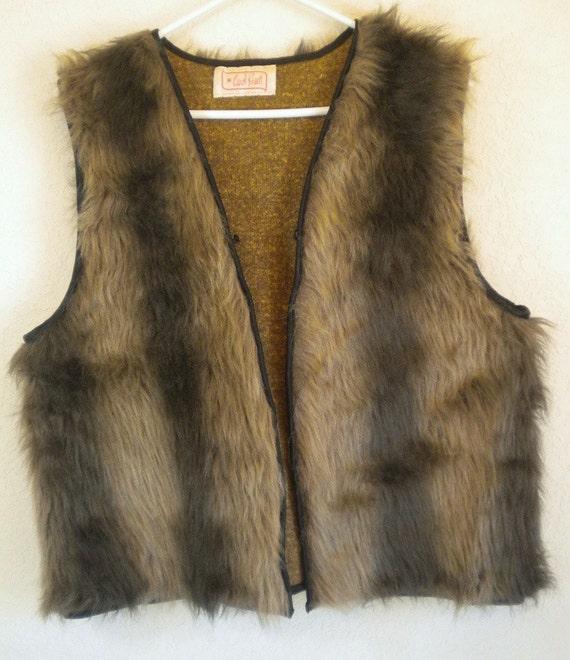 Sale Sonny And Cher Clothing Vintage Retro Vest Faux Fur