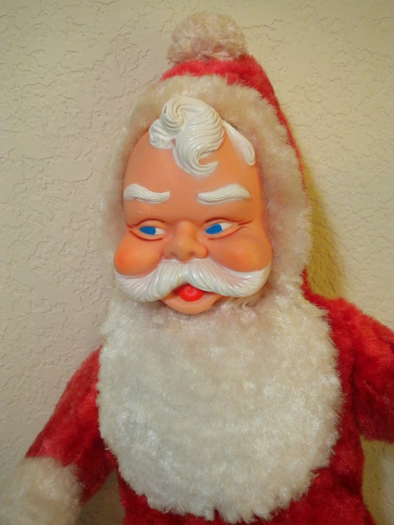 Vintage Plush Santa Claus Stuffed Doll 1960 S Vinyl Face