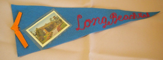 Reserved for sgardiner Vintage Antique Pennant Long Beach California Bungalow Summer Decorating Idea
