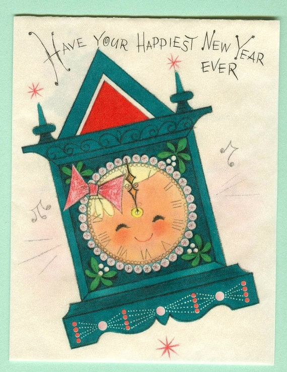 Vintage Hallmark Happy New Year Greeting Card Unused Father Time Clock with Smiling Face