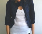 Free shipping - Cowl blouse in navy blue .