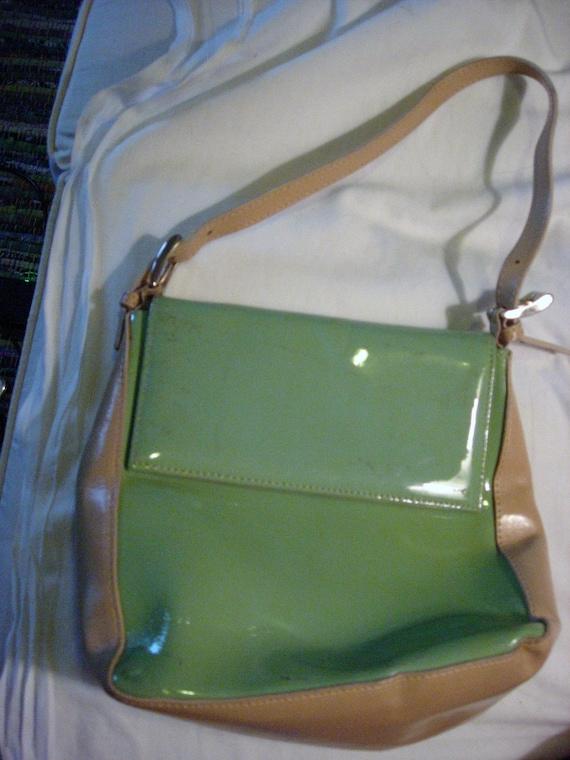 Awesome vintage purse, AQUA patent leather, Italian-made