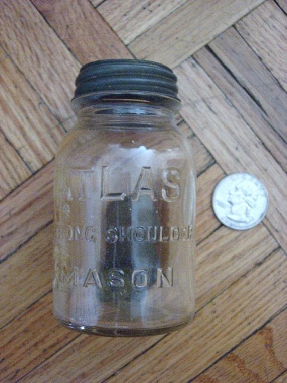 Mini Atlas Mason jar bank, vintage