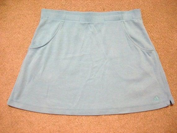 Vintage blue Adidas tennis skirt, ladies' size L