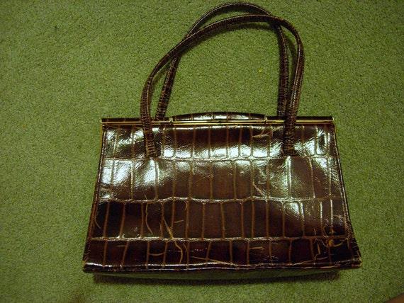 Beautiful vintage pocketbook, brown crocodile