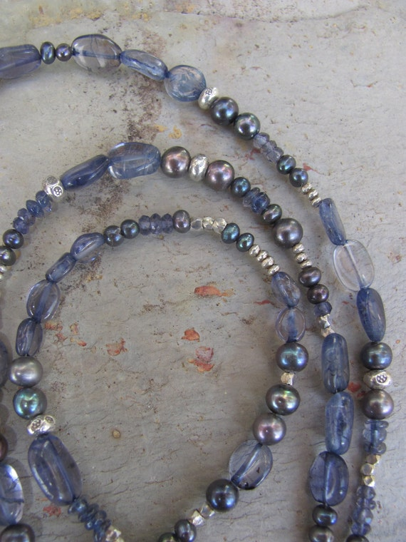 Indigo Iolite, Pearl and Silver Long Necklace/Bracelet