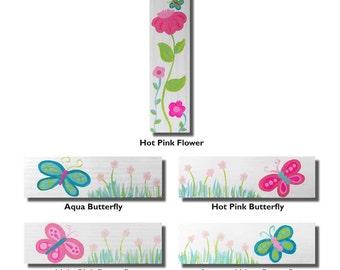Hand Painted Handle - Children's Custom Hand Painted Flower and Butterfly Cabinet or Drawer Handle Pulls for Kids in ANY Size