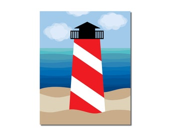 Lighthouse - 8x10 Children's Art Print - Nautical Ocean Beach Theme