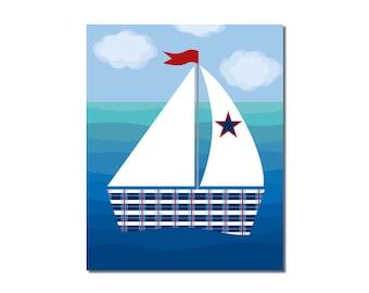 S A L E -Sailboat 1 - 8x10 Children's Art Print - Nautical Ocean Beach Theme