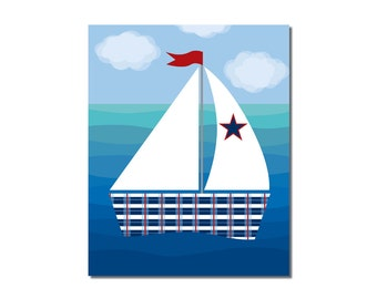 Sailboat 1 - 8x10 Children's Art Print - Nautical Ocean Beach Theme