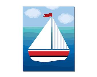 Sailboat 4 - 8x10 Children's Art Print - Nautical Ocean Beach Theme