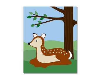 S A L E - Deer - 5x7 Children's Art Print - Woodland Critter Forest Animal Theme