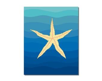 S A L E - Starfish - 8x10 Children's Art Print - Underwater Ocean Critter Beach Theme