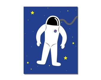S A L E - Astronaut - 5x7 Children's Art Print - Outer Space Theme