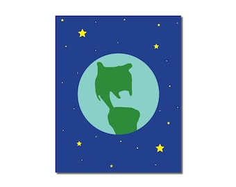 S A L E - Earth - 8x10 Children's Art Print - Outer Space Theme