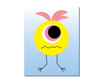 S A L E - Bird Brain Monster - 5x7 Children's Art Print - Cute Monster Series