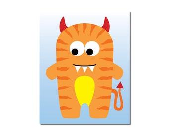 Devilish Tiger Monster - 8x10 Children's Art Print - Cute Monster Series