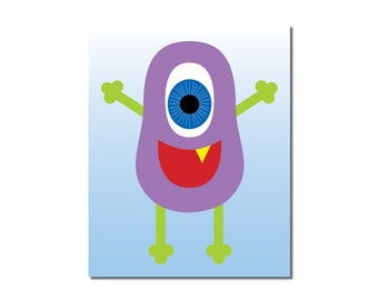 S A L E - Purple People Monster - 5x7 Children's Art Print - Cute Monster Series