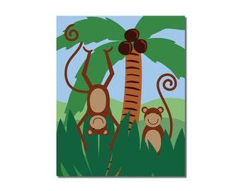 Monkey - 8x10 Children's Art Print - Jungle Safari Series