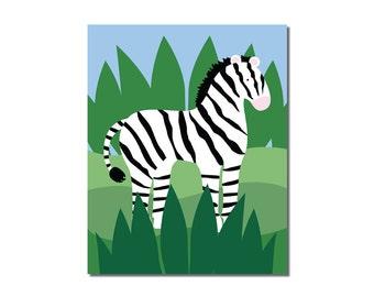 S A L E - Zebra - 5x7 Children's Art Print - Jungle Safari Series