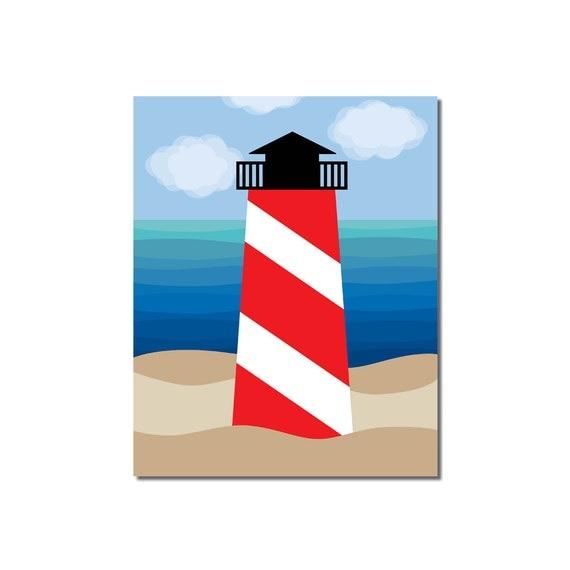 S A L E - Lighthouse - 8x10 Children's Art Print - Nautical Ocean Beach Theme