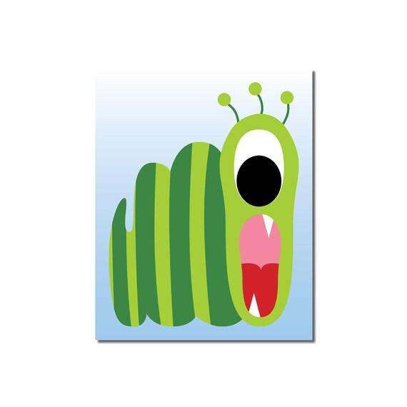 S A L E - Wormy Monster - 8x10 Children's Art Print - Cute Monster Series