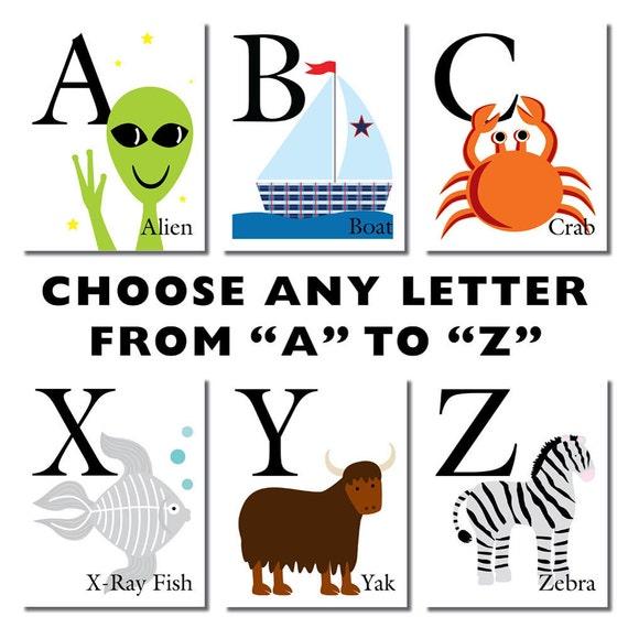 Print 5 X 7 ABC Alphabet Letter Art Print Choose By Coolisart