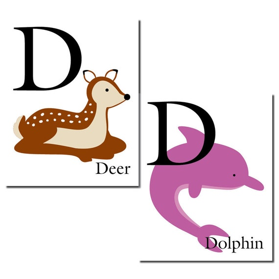 S A L E - D is for Deer... The Letter D - ABC Alphabet Art Print in 8 x 10