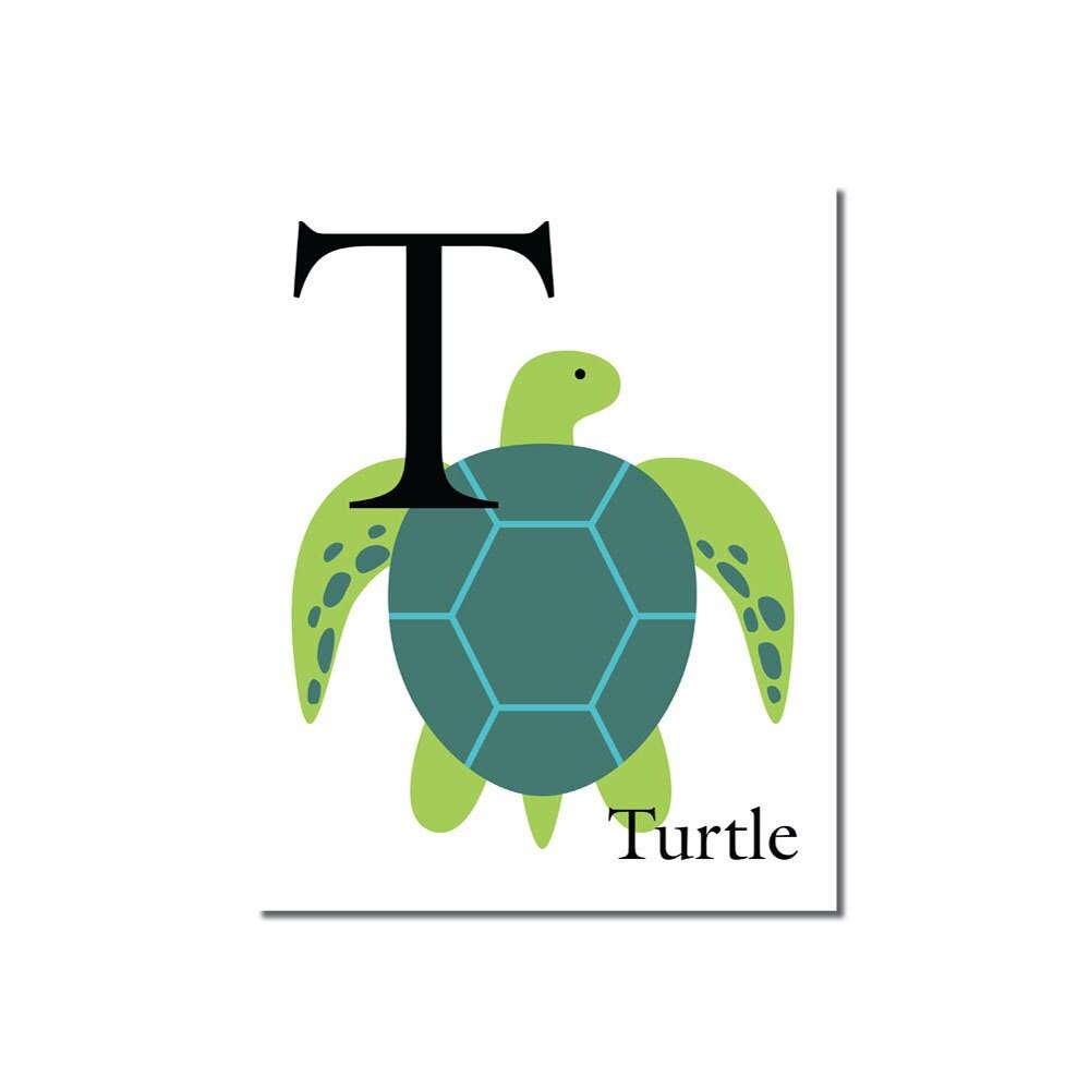 S A L E T Is For Turtle The Letter T ABC Alphabet Art