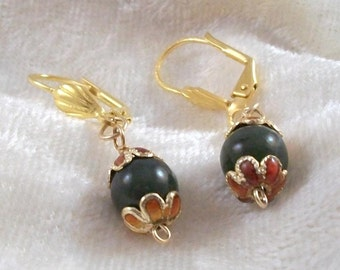 Jade leverback earrings with cloisonne beadcaps