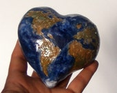 Ceramic Earth, Love Mother Earth,  Hand-sculpted Stoneware heart shape earth.