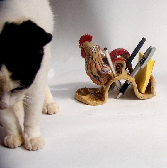 SALE, Rooster and Chicken Desk Set - Ceramic Desk Set from Israel