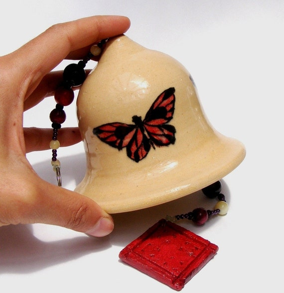 Bell, handmade ceramic bell, With hand-painted butterflies of ceramic oxides