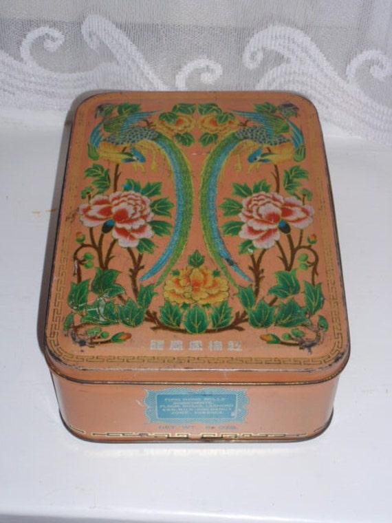 Vintage decorative tin Fung Wong Rolls Hong Kong
