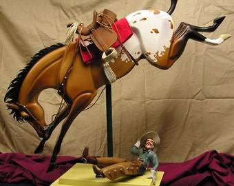 Throwed - customized rocking Bronc and Cowboy (by commission)  Installments Gladly Accepted