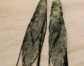 Leather Feather Earrings. Gold Leather. Bohemian Jewelry.