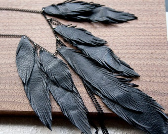 Layered Leather Feather Necklace. Black leather layered with chains. Bohemian Jewelry.