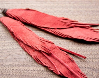 Leather Feather Earrings Bright Red. Bohemian jewelry.