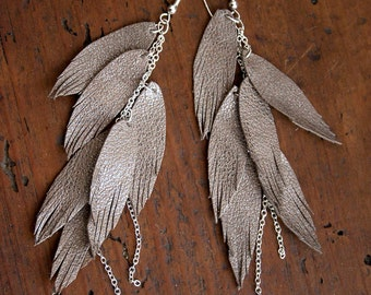 Shimmery Taupe Leather Feather Earrings. Layered with chains. Bohemian Jewelry.